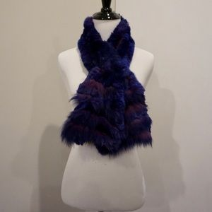 Dino Gaspari Accessories - Purple real fur scarf
